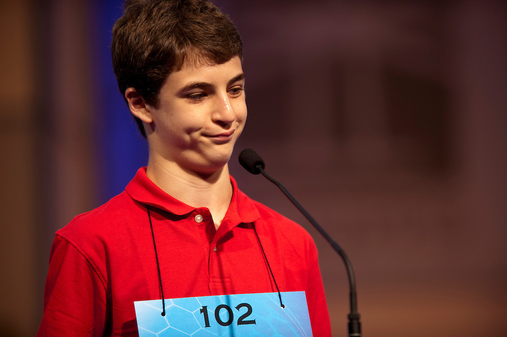 Sam Osheroff, sponsored by Howard County Library, Columbia, Maryland,  competes in the semifinals of the 84th annual Scripps National Spelling Bee in Maryland. There were 41 spellers that advanced to the semifinals.