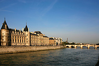 la conciergerie onthe seine river waterfront in the beautiful city of paris france