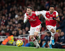 LONDON, ENGLAND - Thursday, December 5, 2019: Arsenal's Emile Smith Rowe (L) and Pierre-Emerick Aubameyang during the FA Premier League match between Arsenal FC and Brighton & Hove Albion FC at the Emirates Stadium. (Pic by Vegard Grott/Propaganda)