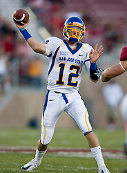 September 19, 2009; Stanford, CA, USA;  San Jose State quarterback Jordan La Secla (12) passes in the first quarter of the Stanford Cardinal game at Stanford Stadium.