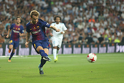 August 16, 2017 - Madrid, Spain - Ivan Rakitic kicks the ball. Real Madrid defeated Barcelona 2-0 in the second leg of the Spanish Supercup football match at the Santiago Bernabeu stadium in Madrid, on August 16, 2017. (Credit Image: © Antonio Pozo/VW Pics via ZUMA Wire)