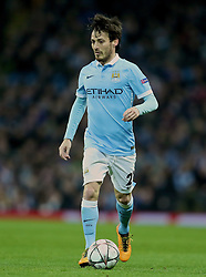 MANCHESTER, ENGLAND - Tuesday, March 15, 2016: Manchester City's David Silva in action against FC Dynamo Kyiv during the UEFA Champions League Round of 16 2nd Leg match at the City of Manchester Stadium. (Pic by David Rawcliffe/Propaganda)
