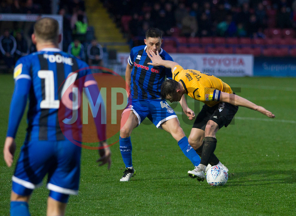Ollie Clarke of Bristol Rovers (R) in action - Mandatory by-line: Jack Phillips/JMP - 02/11/2019 - FOOTBALL - Crown Oil Arena - Rochdale, England - Rochdale v Bristol Rovers - English Football League One