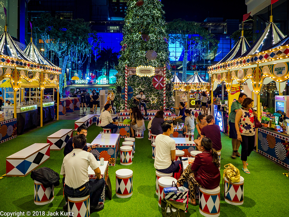 23 NOVEMBER 2018 - BANGKOK, THAILAND:  The Christmas village at Gaysorn, an exclusive mall in Bangkok. Although Thailand is an overwhelmingly Buddhist country, the commercial aspects of Christmas are widely observed, especially in Thailand's urban areas, which have large concentrations of Europeans and Americans.    PHOTO BY JACK KURTZ