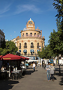 El Gallo Azul rotunda cafe building in central built in 1929 advertising Fundador brandy, Jerez de la Frontera, Spain