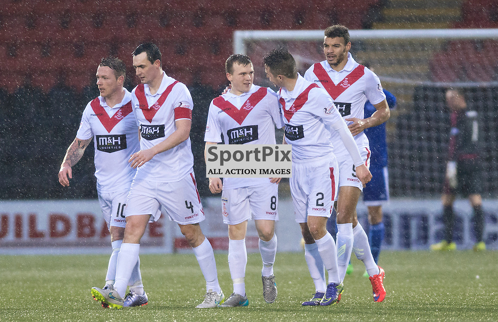 Airdrie players congratulate Liam Watt on his goal that put his side 2-1 against Peterhead......(c) BILLY WHITE | SportPix.org.uk
