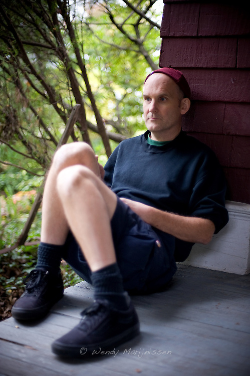 Ian MacKaye from Fugazi and The Evens, outside Dischord house in Arlington Virginia, USA