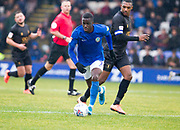 Macclesfield Town forward Arthur Gnahoua in possession of the ball during the EFL Sky Bet League 2 match between Macclesfield Town and Mansfield Town at Moss Rose, Macclesfield, United Kingdom on 16 November 2019.