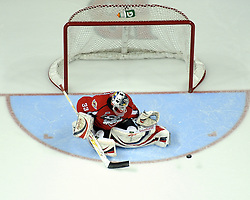 Philipp Grubauer of the Windsor Spitfires in Game 3 of the Rogers OHL Championship Series in Windsor on Sunday May 2. Photo by Aaron Bell/OHL Images