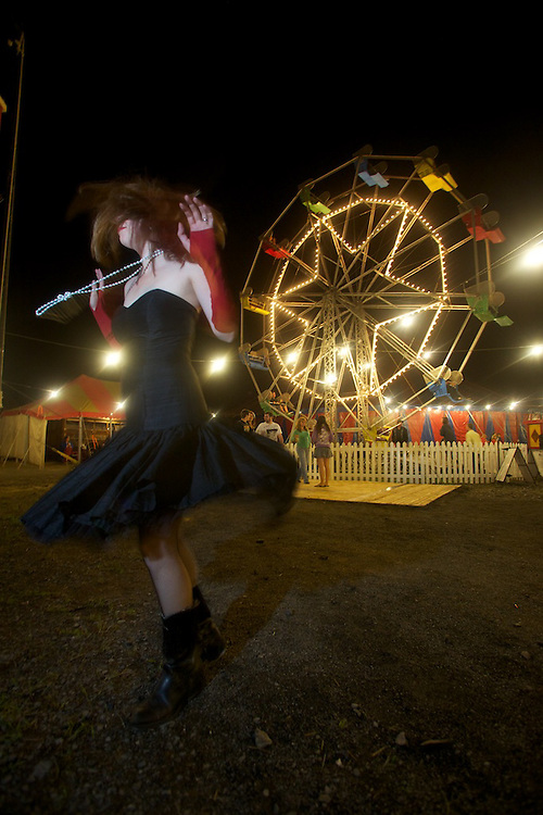 The Unsettlers and contortionist Andreane Leclerc perform at Carnivale Lune Bleue in Bromont, Quebec