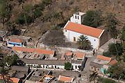 View over city with houses and church. Ciudad Velha. Cidade Velha. Santiago. Cabo Verde. Africa.