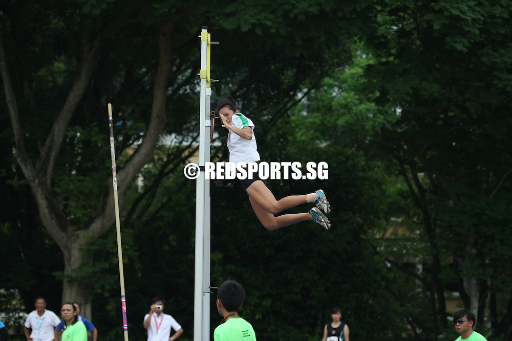 Choa Chu Kang Stadium, Monday, April 8, 2013 &mdash; Chang An Zi of Geylang Methodist School (Secondary) struck gold in the Open Division pole vault at the 54th National Schools Track and Field Championships. She topped off her win with a new personal best of 3.13 meters.<br /> <br /> Story: http://www.redsports.sg/2013/04/11/open-division-pole-vault-girls-chang-an-zi-geylang-methodist/