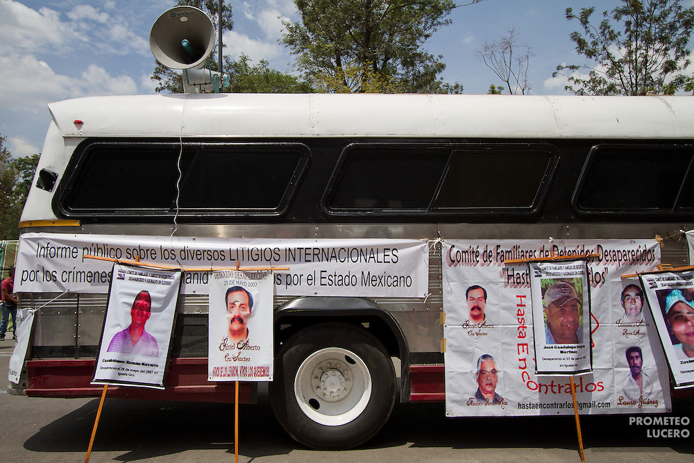 Portraits of  forced disappearance victims are shown in front of the Foreign Ministry in Mexico City on August 30th, 2012. (Photo: Prometeo Lucero)