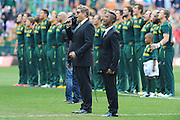 CAPE TOWN, SOUTH AFRICA - Saturday 28 September 2013, Kurt Darren sings the South African national anthem &quot; Nkosi sikelel' iAfrika&quot; with Katlego Maboe singing with during the Castle Lager Rugby Championship test match between South Africa (Sprinkboks) and Australia (Wallabies) at DHL Newlands in Cape Town.<br /> Photo by Roger Sedres/ ImageSA