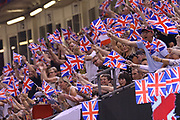 Fans wave their British flags during the 2019 Adrian Flux British FIM Speedway Grand Prix at the Principality Stadium, Cardiff, Wales on 21 September 2019.