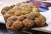 Freshly bakes Challah at a bakery