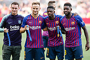 Thomas Vermaelen, Ivan Rakitic, Ousmane Dembele and Samuel Umtiti of FC Barcelona with his medals of the FIFA World Cup Russia 2018 during the Spanish championship La Liga football match between FC Barcelona and Huesca on September 2, 2018 at Camp Nou Stadium in Barcelona, Spain - Photo Xavier Bonilla / Spain ProSportsImages / DPPI / ProSportsImages / DPPI