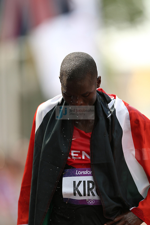 Abel Kirui of Kenya after finishing second to win a silver medal at the men's marathon during day 16 of the London Olympic Games in London, England, United Kingdom on August 12, 2012..(Jed Jacobsohn/for The New York Times)..