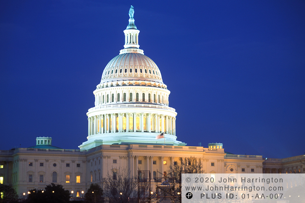 The US Capitol at night.