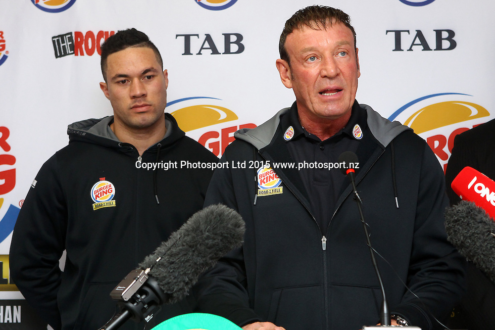 Joseph Parker and trainer Kevin Barry, Burger King, Road to the Title press conference ahead of Thursdays boxing event. Burger king Lincoln Rd, Auckland. 13 October 2015. Copyright Photo: William Booth / www.photosport.nz