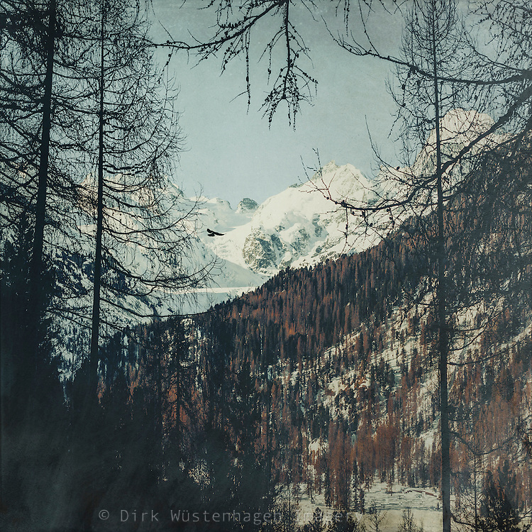 View from a rest area on Julierstrasse  our way through the Swiss Alps. Textured photograph