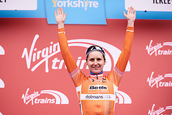 Megan Guarnier (USA) secures the red climber's jersey at ASDA Tour de Yorkshire Women's Race 2018 - Stage 2, a 124 km road race from Barnsley to Ilkley on May 4, 2018. Photo by Sean Robinson/Velofocus.com