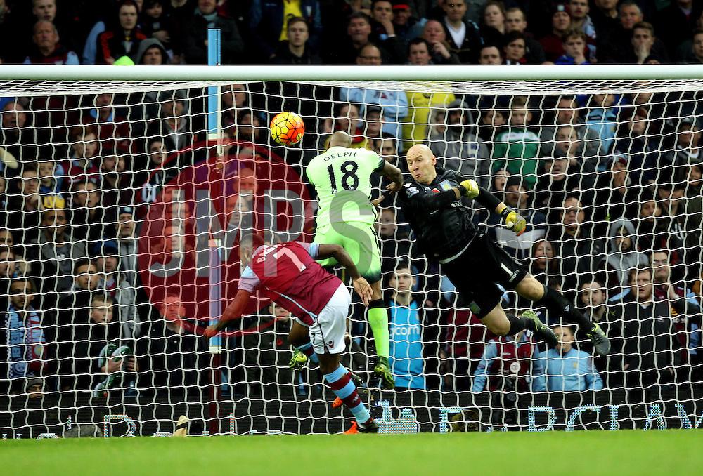 Brad Guzan of Aston Villa makes clears the ball from Manchester City's Fabian Delph - Mandatory byline: Robbie Stephenson/JMP - 07966 386802 - 08/11/2015 - FOOTBALL - Villa Park - Birmingham, England - Aston Villa v Manchester City - Barclays Premier League