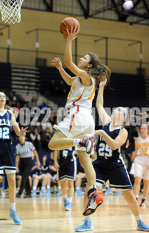 Gwynedd Mercy's Erica DeCandido #21 makes a layup as Villa Marie's Emily Gillin #25 defends in the first quarter of the District One Class AAA girls basketball championship game Saturday February 27, 2016 at Council Rock South in Northampton, Pennsylvania. (Photo by William Thomas Cain)