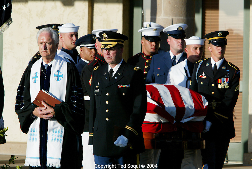 US Honor guard carry the casket of Ronald Reagan at his funeral..Ronald Reagan Library. Simi Valley, CA USA 6/11/04.