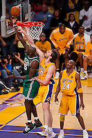 17 June 2010: Forward Pau Gasol of the Los Angeles Lakers defends the shot of Kevin Garnett of the Boston Celtics during the second half of the Lakers 83-79 championship victory over the Celtics in Game 7 of the NBA Finals at the STAPLES Center in Los Angeles, CA.