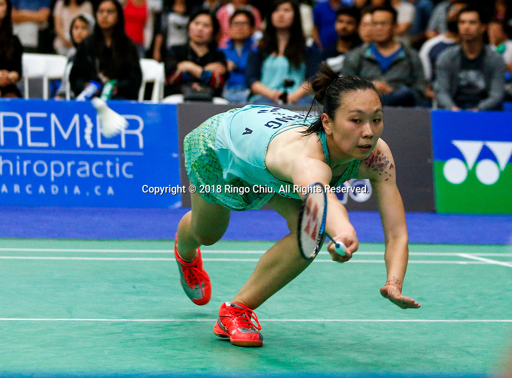 China's Li Xuerui claims title of U.S. Open Badminton Championships women's singles <br /> <br /> Beiwen Zhang of USA, competes with Li Xuerui of China, during the women's singles final match at the U.S. Open Badminton Championships in Los Angeles, the United State on June 17, 2018. Li won 2-1. (Xinhua/Zhao Hanrong)<br /> (Photo by Ringo Chiu)<br /> <br /> Usage Notes: This content is intended for editorial use only. For other uses, additional clearances may be required.