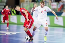 Artem Niyazov of Russia and Sebastian Wojciechowski of Poland during futsal match between Russia and Poland at Day 1 of UEFA Futsal EURO 2018, on January 30, 2018 in Arena Stozice, Ljubljana, Slovenia. Photo by Ziga Zupan / Sportida