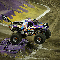 Bad News driven by Brandon Derrow is seen during the Monster Jam big truck event at the Citrus Bowl in Orlando, Florida on Saturday, January 25, 2014. (AP Photo/Alex Menendez)