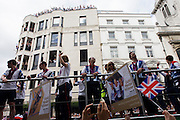 London, 10th September 2012. The day after the end of the London 2012 Paralympics, thousands of spectators lined the capital's streets to honour 800 of TeamGB's athletes and Paralympians. Britain's golden generation of athletes in turn said thank you to its Olympic followers, paying tribute to London and a wider Britain as up to a million people lined the streets to celebrate the ?greatest ever? sporting summer and billed to be the biggest sporting celebration ever seen in the UK.