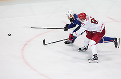 Antonin Manavian of France vs Alexander Kogalev of Belarus during the 2017 IIHF Men's World Championship group B Ice hockey match between National Teams of France and Belarus, on May 12, 2017 in AccorHotels Arena in Paris, France. Photo by Vid Ponikvar / Sportida