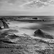 Aliso Creek Point Shoreline (90 Second Exposure) - Sunset - Black & White
