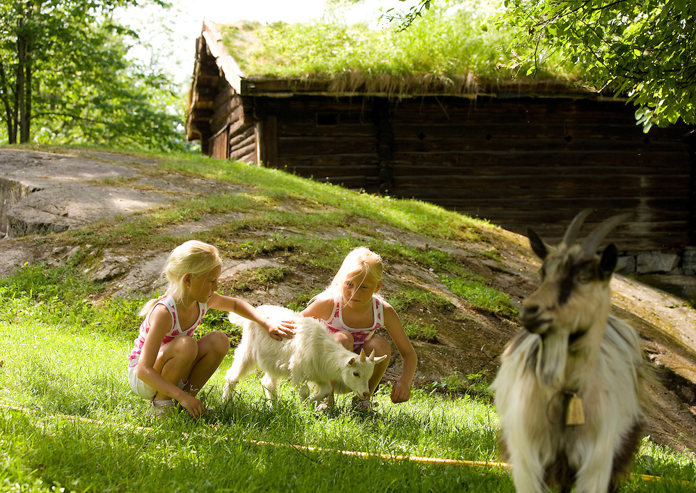 Foring av dyr på Lågendalsmuseet, Trine og Martine Isaksen