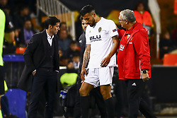 February 21, 2019 - Valencia, Spain - Ezequiel Garay of Valencia CF and Head coach of Valencia CF Marcelino Garcia Toral.. during second leg of their last 32 UEFA Europa League match between  Valencia CF v AS Celtic at Mestalla Stadium on February 21, 2019. (Credit Image: © Jose Miguel Fernandez De Velasco/NurPhoto via ZUMA Press)