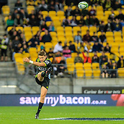 Beauden Barrett kicks during the Super Rugby union game between Hurricanes and Sunwolves, played at Westpac Stadium, Wellington, New Zealand on 27 April 2018.   Hurricanes won 43-15.
