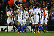 Picture by Paul Chesterton/Focus Images Ltd +44 7904 640267.02/05/2013.Mohamed Salah of FC Basel scores his sides 1st goal and celebrates during the UEFA Europa League match at Stamford Bridge, London.