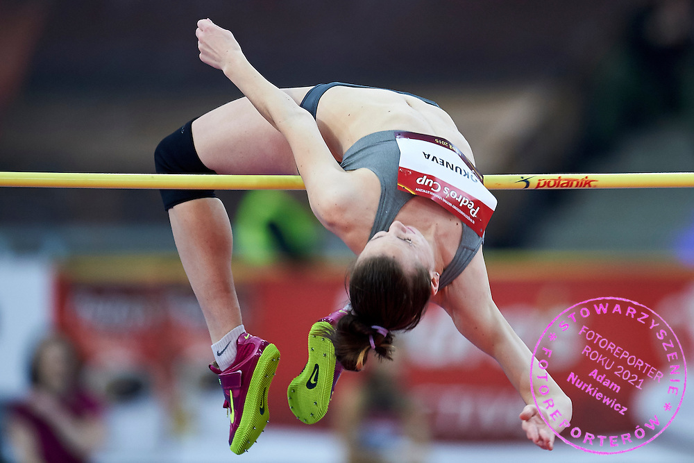 Oksana Okuneva from Ukraine competes in women's high jump competition during athletics meeting Pedro's Cup at Atlas Arena in Lodz, Poland.<br /> <br /> Poland, Lodz, February 17, 2015<br /> <br /> Picture also available in RAW (NEF) or TIFF format on special request.<br /> <br /> For editorial use only. Any commercial or promotional use requires permission.<br /> <br /> Adam Nurkiewicz declares that he has no rights to the image of people at the photographs of his authorship.<br /> <br /> Mandatory credit:<br /> Photo by &copy; Adam Nurkiewicz / Mediasport