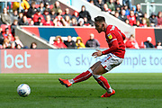 Josh Brownhill (8) of Bristol City shoots at goal during the EFL Sky Bet Championship match between Bristol City and Derby County at Ashton Gate, Bristol, England on 27 April 2019.