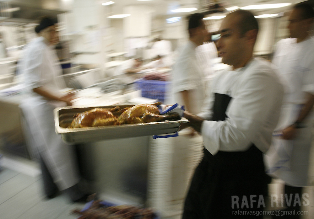 Some chefs work at the Berasategui restaurant, on July 03, 2008, in the northern Spanish Basque village of Lasarte.