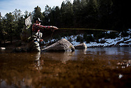 2017 FEB 15: Garrison Doctor, owner of RepYourWater, gives his best winter fly fishing tips on the South Platte River outside of Pine, CO.