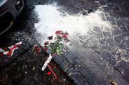 Roma,3 Marzo 2013.Fiori rossi  per i Giorgio Frau ex Brigate Rosse sul luogo dove è stato ucciso dopo la tentata rapina ad un furgone porta valori in Via Carlo Alberto.