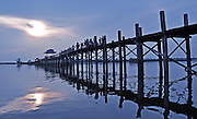 U Bein Bridge - the longest teak bridge (footbridge) in the world in Amarapura, Mandalay, Myanmar