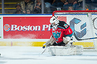 KELOWNA, CANADA - OCTOBER 28: James Porter #1 of the Kelowna Rockets makes a save against the Prince George Cougars on October 28, 2017 at Prospera Place in Kelowna, British Columbia, Canada.  (Photo by Marissa Baecker/Shoot the Breeze)  *** Local Caption ***