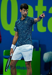 Novak Djokovic of Serbia reacts during his game against Nikoloz Basilashvili of Georgia at the Quarter - Final of ATP Qatar Open Tennis match at the Khalifa International Tennis Complex in Doha, capital of Qatar, on January 03, 2019. Novak Djokovic won 2-1  (Credit Image: © Nikku/Xinhua via ZUMA Wire)