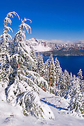 Crater Lake and Wizard Island in winter (Deepest lake in the US), Crater Lake National Park, Oregon