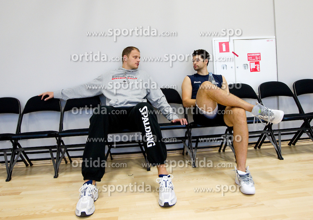 Raso Nesterovic and Saso Ozbolt during practice session of Slovenia National basketball team 1 day before Eurobasket Lithuania 2011, on August 29, 2011, in Arena Svyturio, Klaipeda, Lithuania. (Photo by Vid Ponikvar / Sportida)